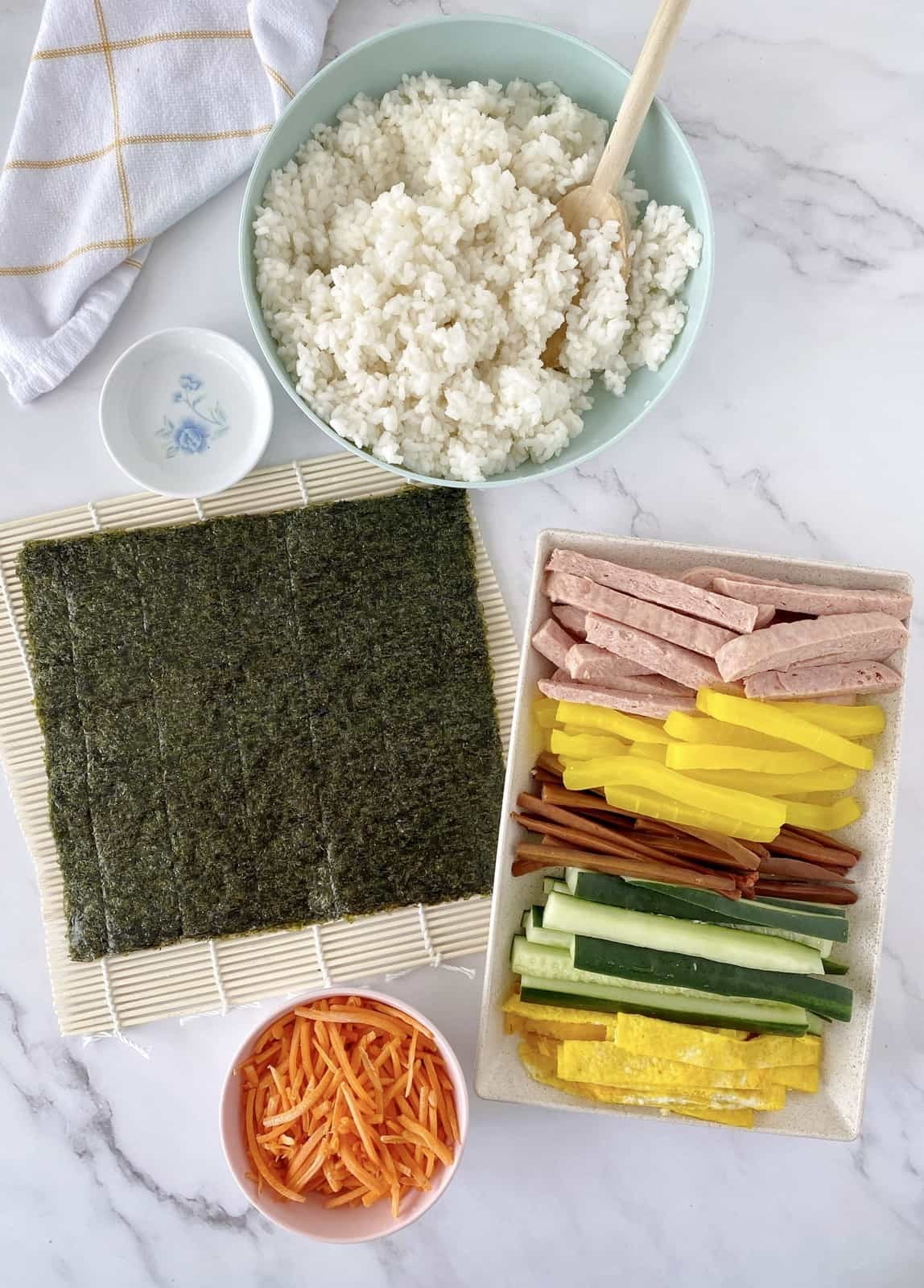 ingredients for korean sushi laid out
