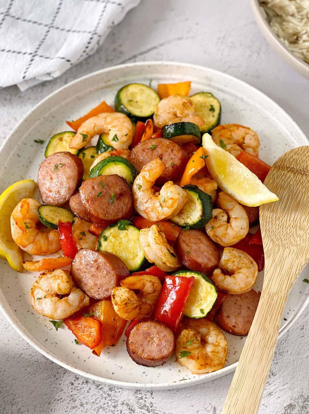 bowl of cajun shrimp and veggies