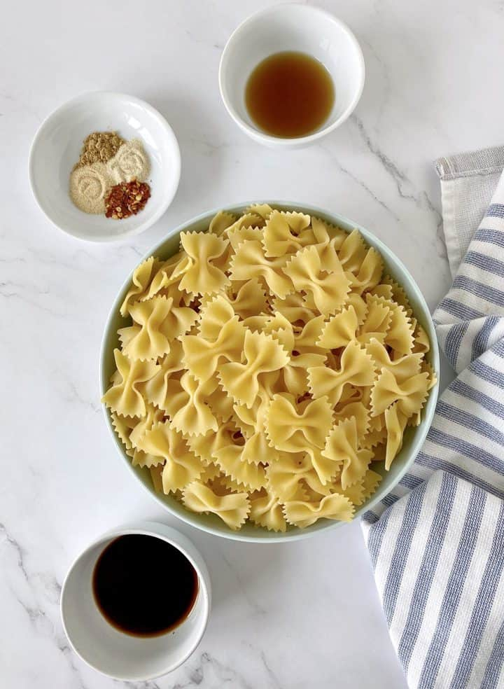 pasta chips with seasonings, soy sauce and sesame oil.