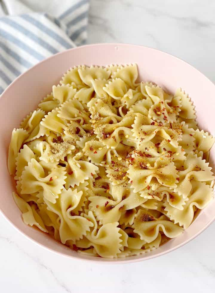bowl of pasta with sesame oil and soy sacue
