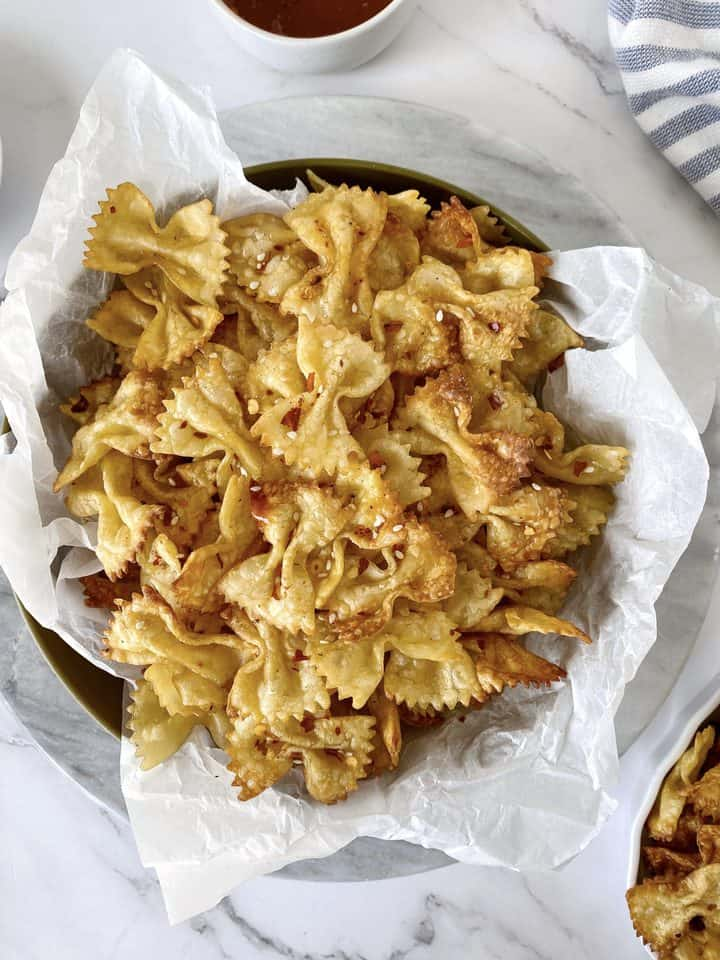 bowl of pasta chips