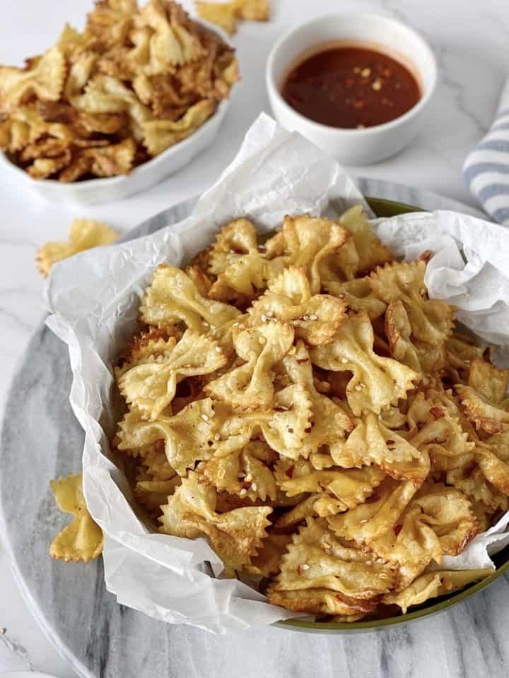 large bowl of pasta chips