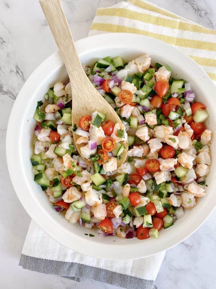 bowl of shrimp ceviche