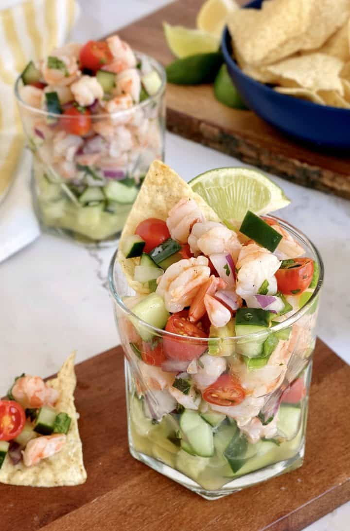 glass of shrimp ceviche