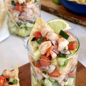 cocktail glass of shrimp ceviche