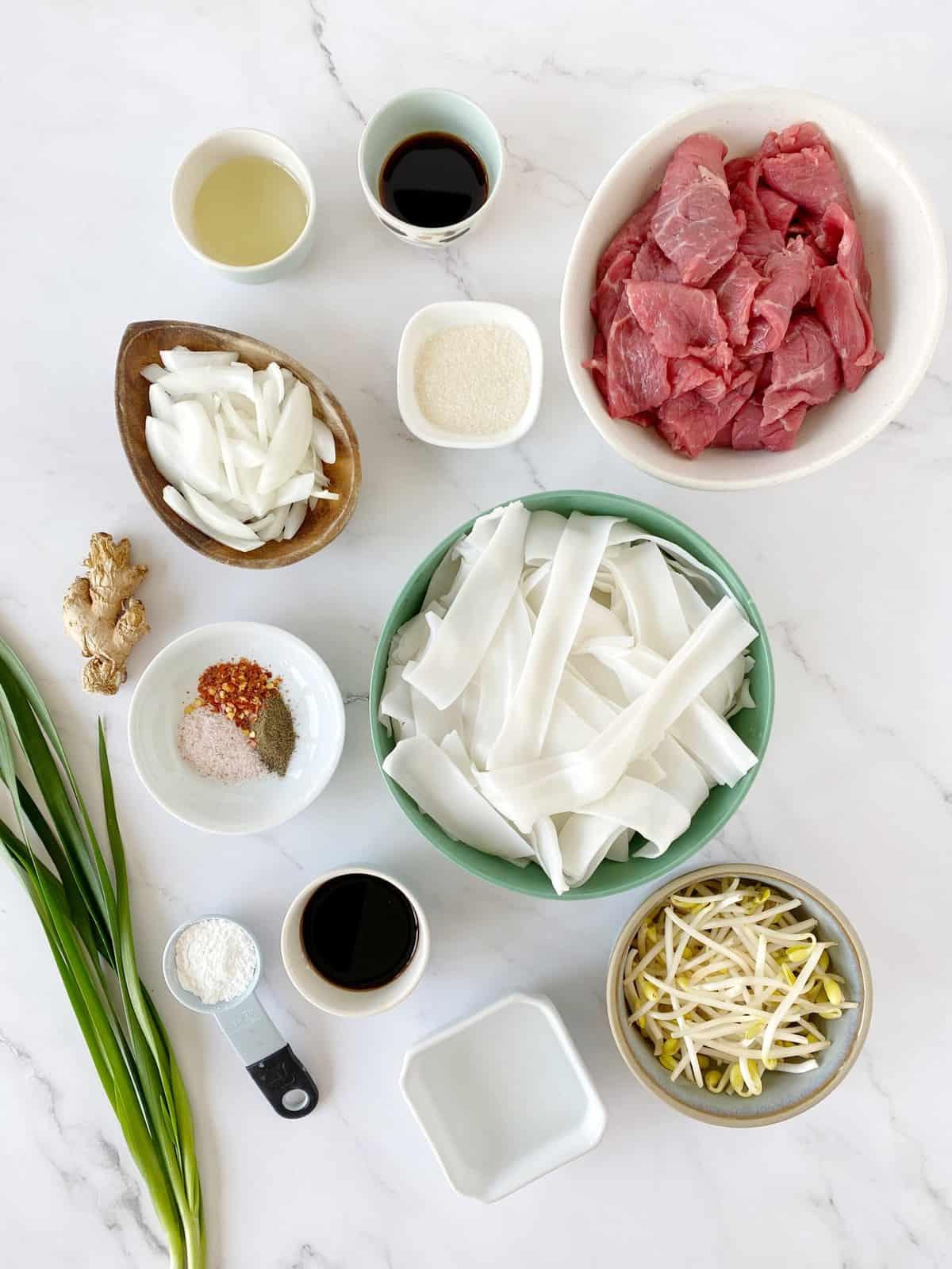 over the top ingredients with noodles, beef, seasonings