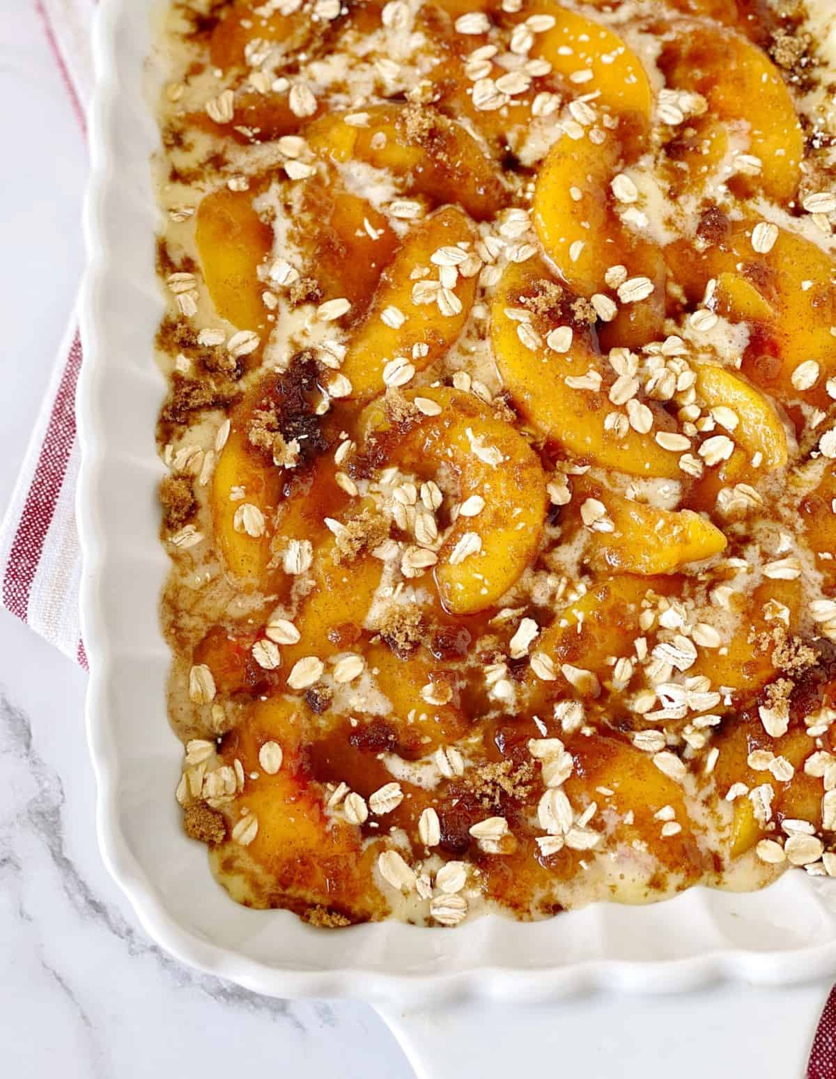 peaches with oats on top