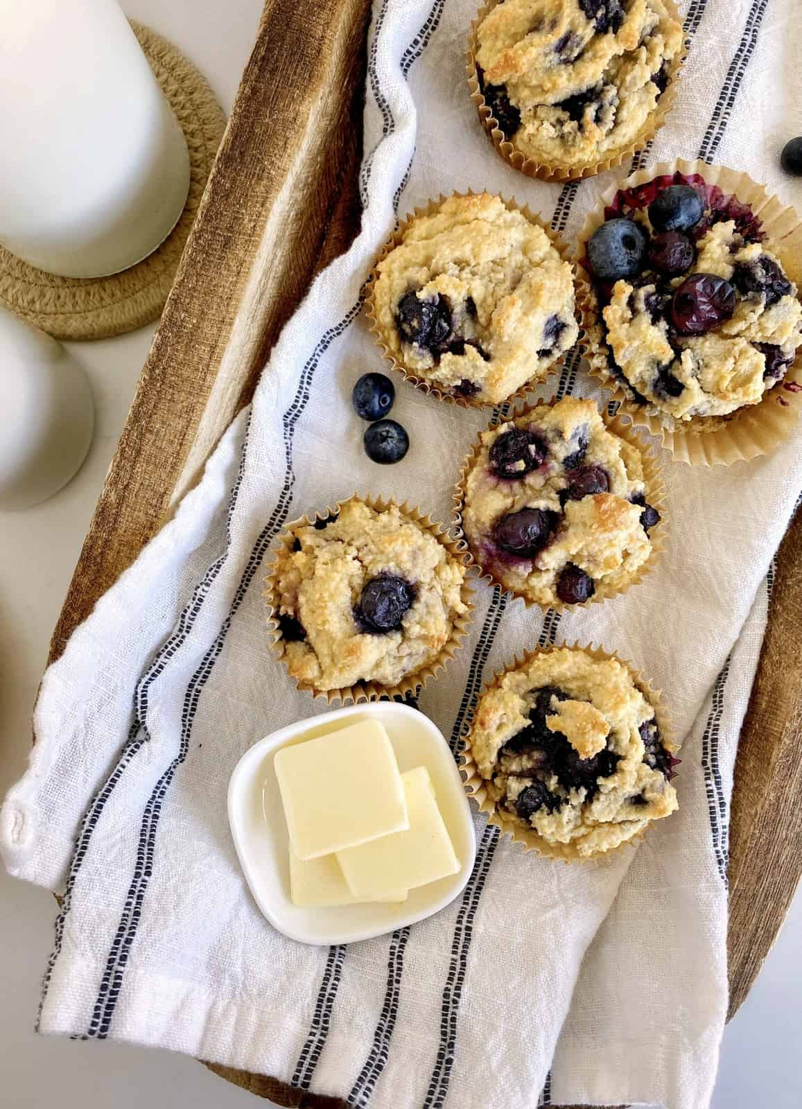 blueberry muffins on a towel