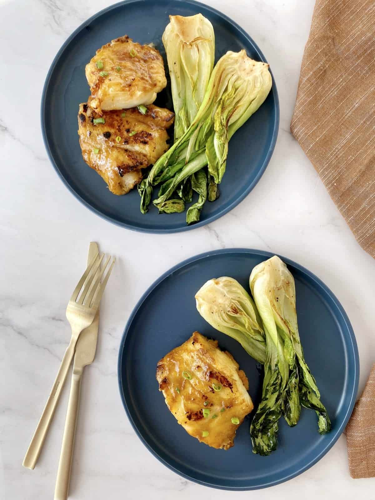 miso cod plated with bokchoy