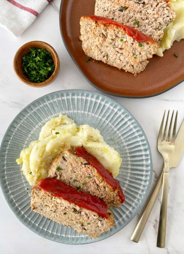 veggie meatloaf on a bed of mashed potatoes