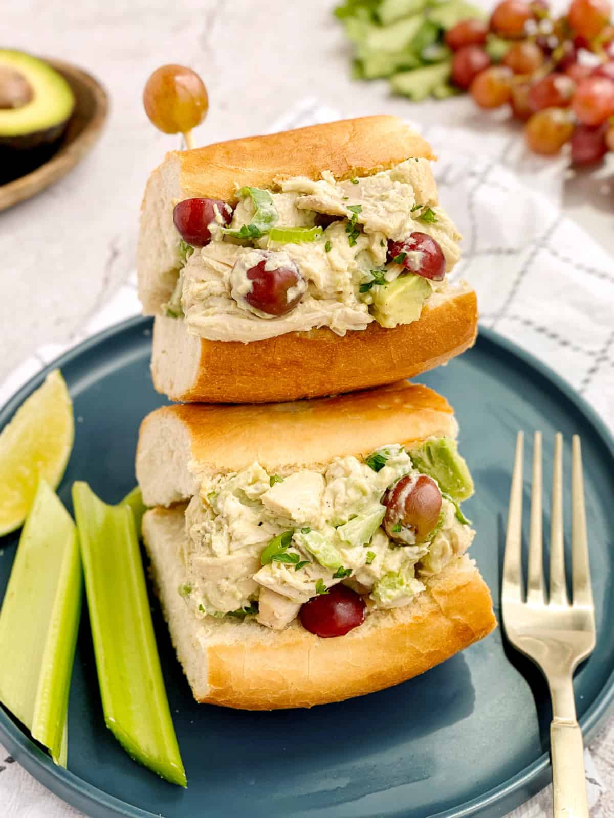 bread chicken salad on a plate